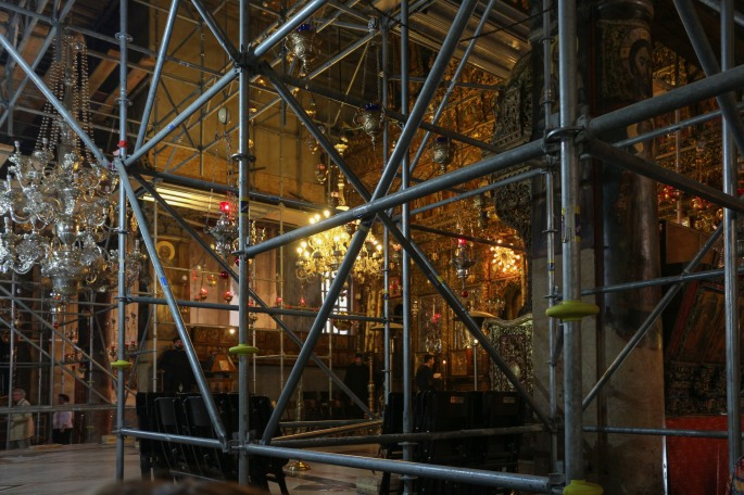 scaffolding church of nativity